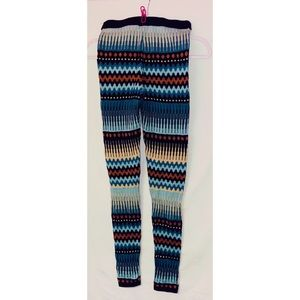 H&M leggings. Thick and colorful. Blue band waist